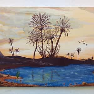 Painting Samir Artist - Palms at restful Oasis