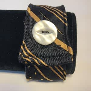 Striped Gold Men's Tie Cuff with Button