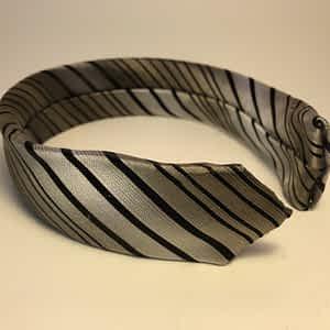 Striped Silver Tie Headband