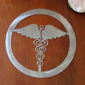 Caduceus Medical Symbol Metal Art