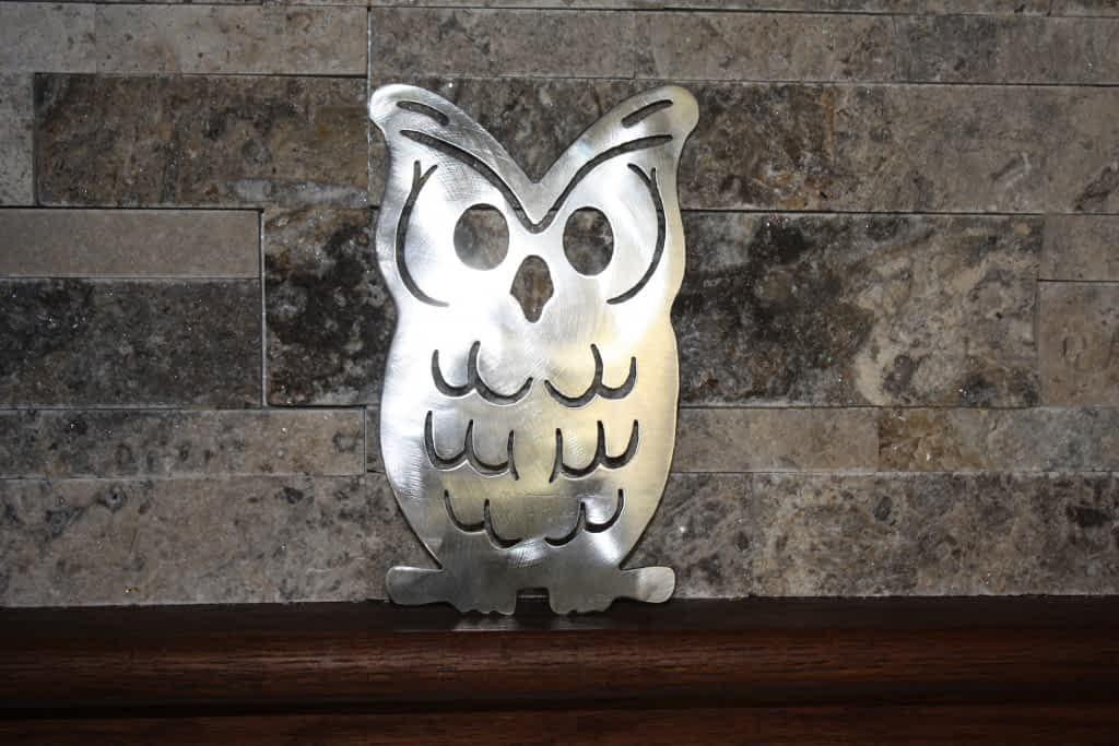Owl Metal Art on Shelf