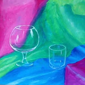 Samir painted two glasses on a colorful background.