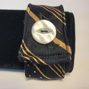 Striped Gold Men's Tie Cuff with Button