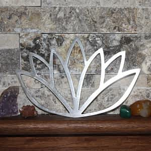 Lotus Flower metal art on shelf