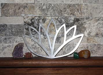 Lotus Flower metal art on shelf