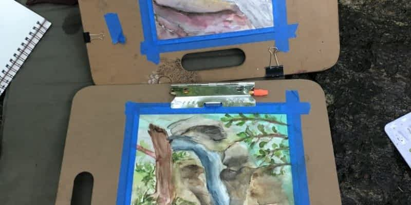 Plein Air Painting at Waterfall in Caser, NC
