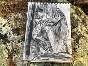 Crowder's Mountain Boulder Park Plein Air Charcoal Drawing