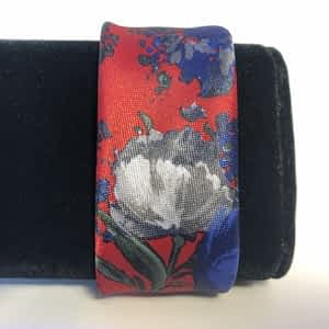 Floral Blue and White Flowers on Red Background Men's Necktie Fabric Cuff