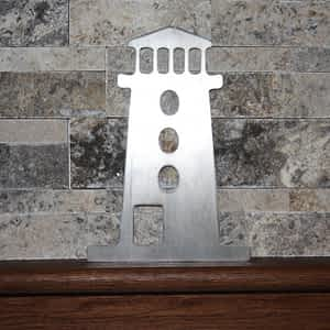 Lighthouse Metal Art on Shelf